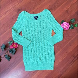 American Eagle Cable Knit Green Sweater